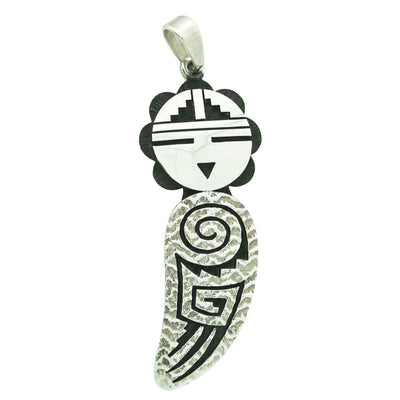 Load image into Gallery viewer, Ruben Saufkie, Pendant, Sunface, Sterling Silver Overlay, Hopi Handmade, 2 7/8""