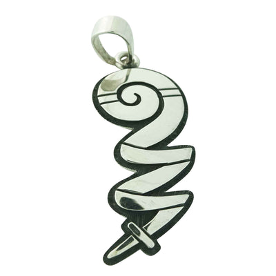 Load image into Gallery viewer, Ruben Saufkie, Pendant, Energy, Silver Overlay, Hopi Handmade, 2 3/8Ó