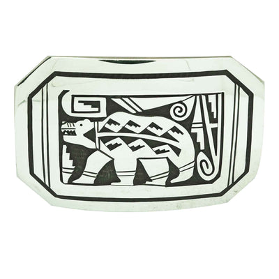 Load image into Gallery viewer, Sonny Gene, Buckle, Bear, Sterling Silver, Hopi Style, Navajo Handmade, 1.5 in