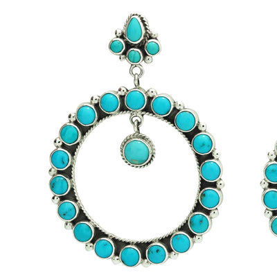 Load image into Gallery viewer, Verdy Jake, Earring, Dangles, Kingman Turquoise, Silver, Navajo Handmade, 3 1/8""