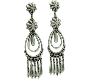Thomas Jim, Earrings, Dangles, Rustic Brushed Finish, Navajo Handmade, 3 1/4""