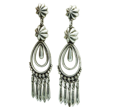 Load image into Gallery viewer, Thomas Jim, Earrings, Dangles, Rustic Brushed Finish, Navajo Handmade, 3 1/4""