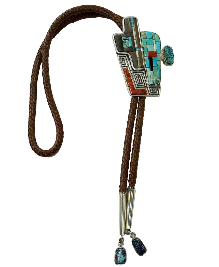 Hank Whitethorne, Bolo Tie, Multi Stone Inlay, Turquoise Cabachons, Navajo, 46