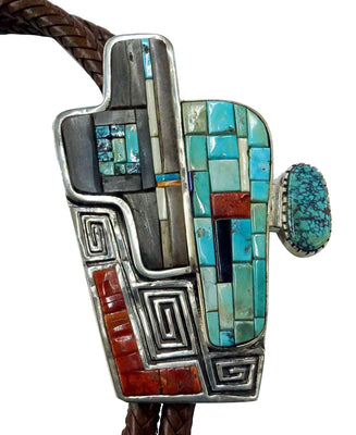Load image into Gallery viewer, Hank Whitethorne, Bolo Tie, Multi Stone Inlay, Turquoise Cabachons, Navajo, 46""
