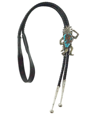 Load image into Gallery viewer, Philander Begay, Bolo Tie, Yei' be Chei', Pilot Mountain Turquoise, Navajo, 42""
