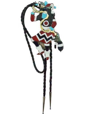 Load image into Gallery viewer, Philbert Beyuka, Bolo Tie, Multi Stone, Snake Dancer, Zuni Handmade, 38""