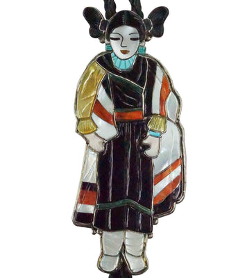 Load image into Gallery viewer, Shirley Benn, Bolo Tie, Hopi Maiden, Multi Stone Inlay, Handmade, 44""