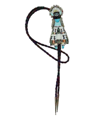 Load image into Gallery viewer, Eldred Martinez, Bolo Tie, Zuni Shalako, Multi Stone Inlay, Handmade, 44""