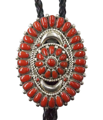 Load image into Gallery viewer, Lorraine Waatsa, Bolo Tie, Mediterranean Coral, Cluster, Silver, Zuni Made, 36""