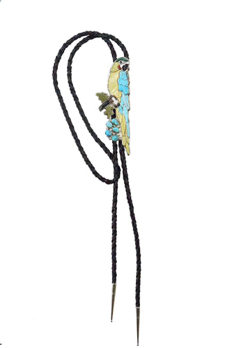 Shirley Benn, Bolo Tie, Parrot, Turquoise, Shell, Coral, Jet, Malachite, 44