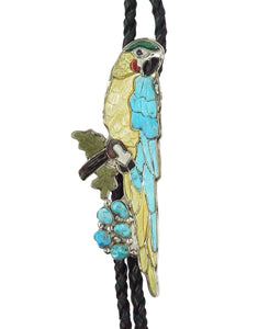 Shirley Benn, Bolo Tie, Parrot, Turquoise, Shell, Coral, Jet, Malachite, 44""