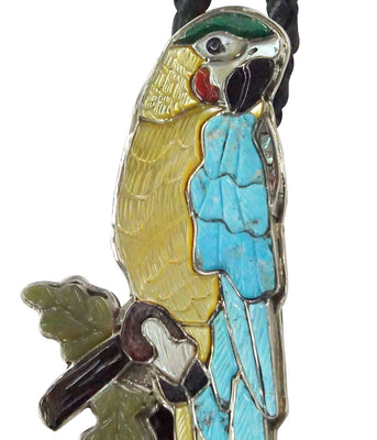 Load image into Gallery viewer, Shirley Benn, Bolo Tie, Parrot, Turquoise, Shell, Coral, Jet, Malachite, 44""