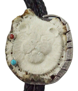 Monty Claw, Bolo Tie, Elk Antler Caved Bear Face, Arrowhead, Navajo Made, 40""