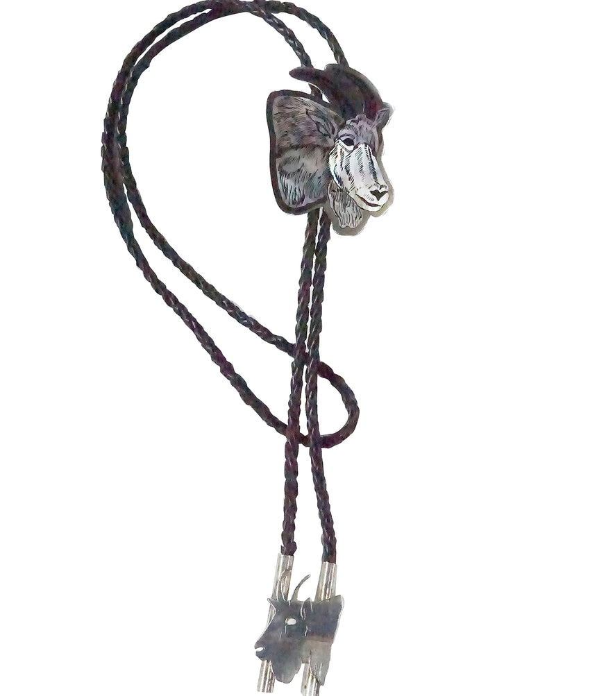 Dale Edaakie, Bolo Tie, Inlay, Shell, Silver, Mountain Goat, Zuni Handmade, 46
