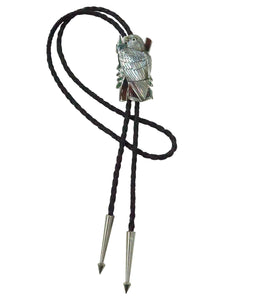 Harlan Coonsis, Bolo Tie, Red Tail Hawk, Silver, Inlay, Zuni Handmade, 42""