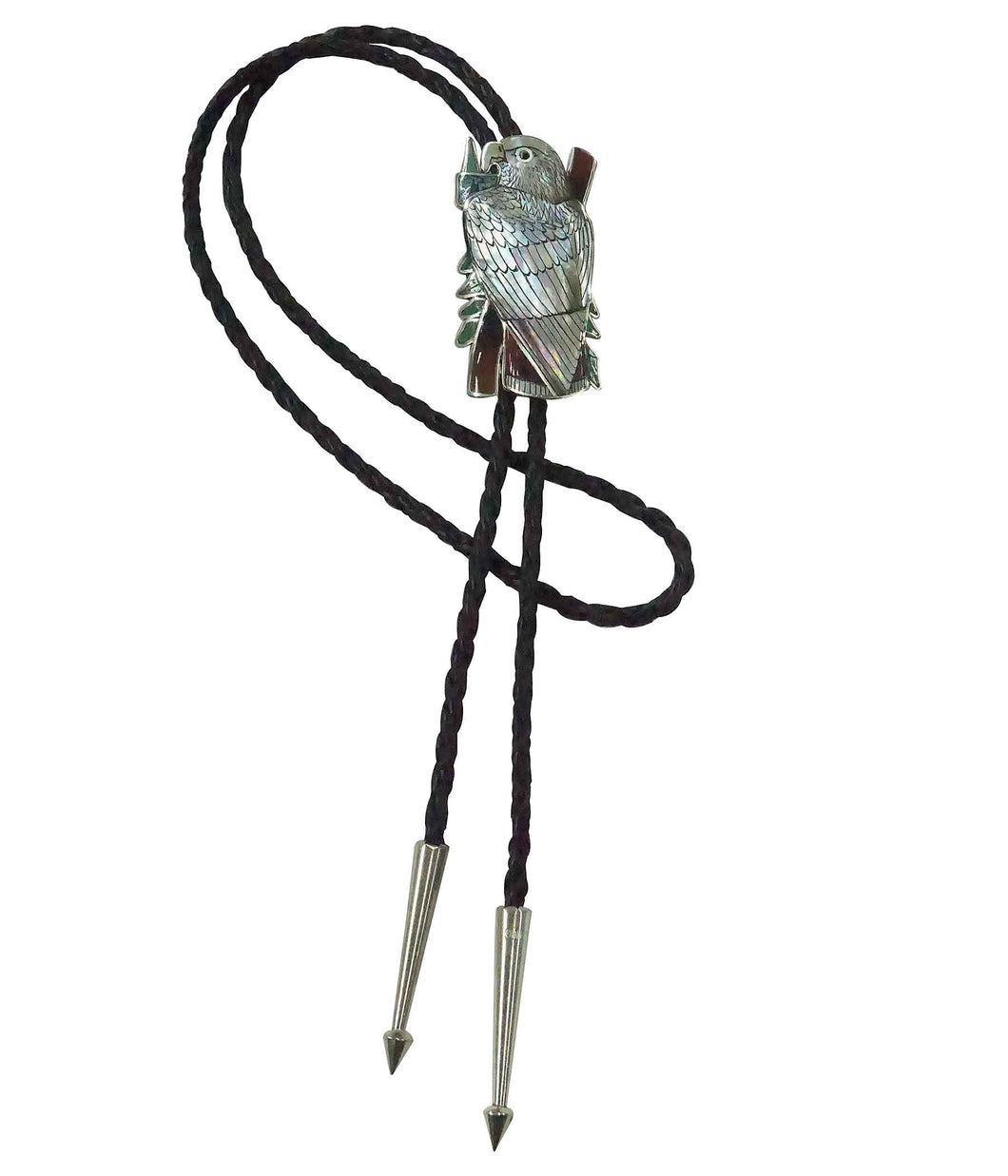 Harlan Coonsis, Bolo Tie, Red Tail Hawk, Silver, Inlay, Zuni Handmade, 42