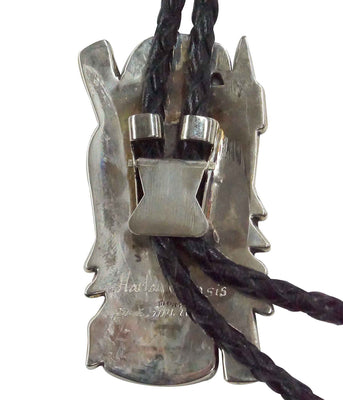 Load image into Gallery viewer, Harlan Coonsis, Bolo Tie, Red Tail Hawk, Silver, Inlay, Zuni Handmade, 42""