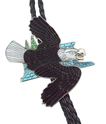 Load image into Gallery viewer, Harlan Coonsis, Bolo Tie, Bald Eagle, Shell, Inlay, Silver, Zuni Handmade, 46""