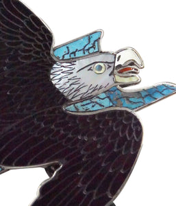 Harlan Coonsis, Bolo Tie, Bald Eagle, Shell, Inlay, Silver, Zuni Handmade, 46""