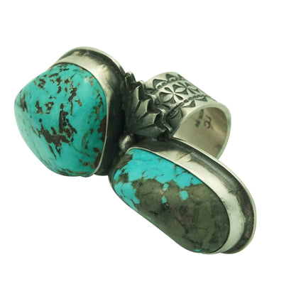 Load image into Gallery viewer, Derrick Cadman, Ring, Kingman Turquoise, Big Stone, Rustic Finish, Navajo, 8 _