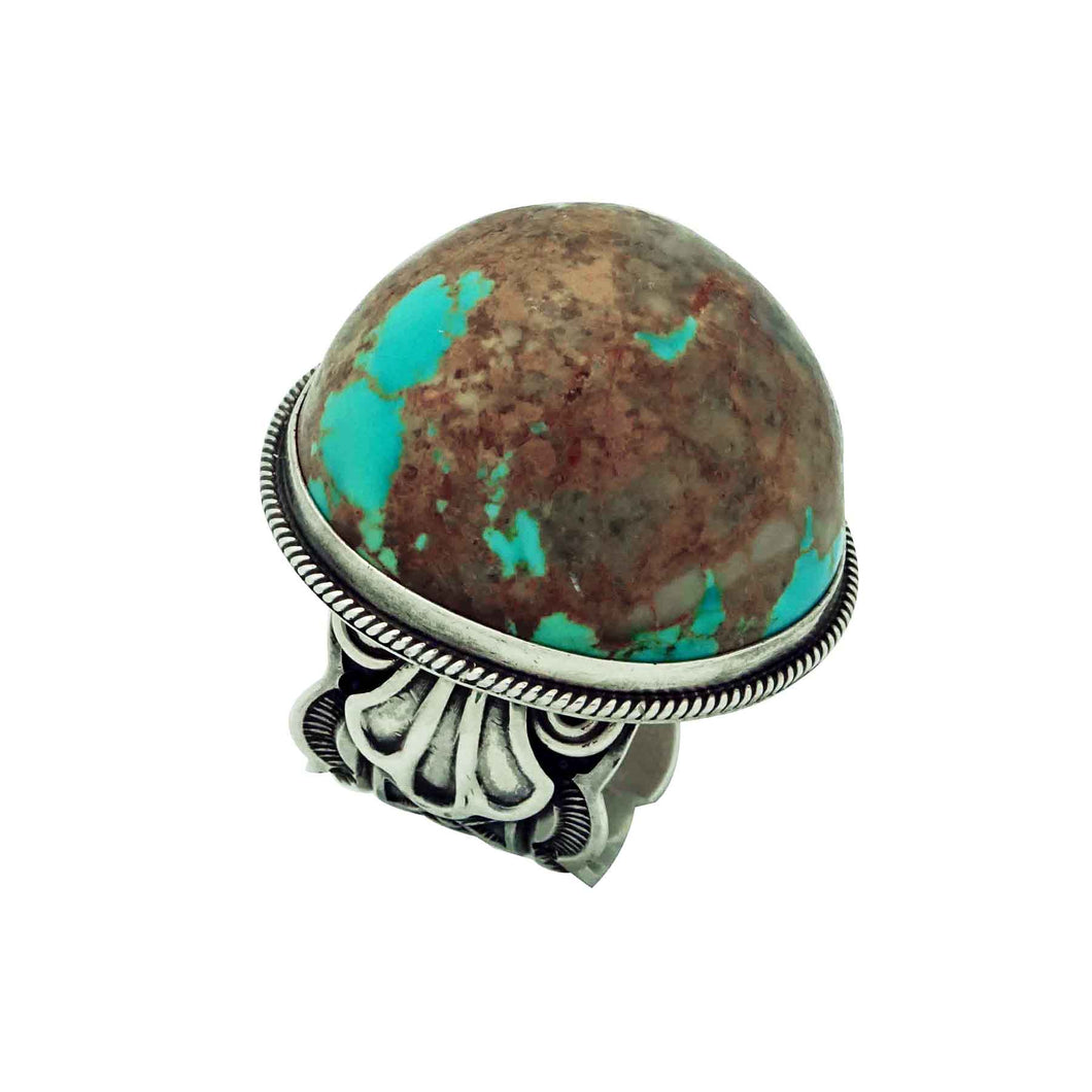 Darrell Cadman, Ring, Domed Kingman Turquoise, Sterling Silver, Navajo Made, 9