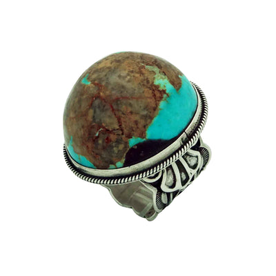 Load image into Gallery viewer, Darrell Cadman, Ring, Domed Kingman Turquoise, Sterling Silver, Navajo Made, 9