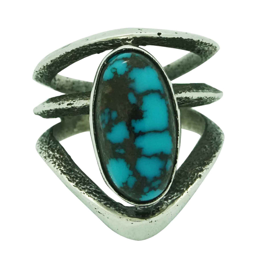 Aaron Anderson, Ring, Godber Burnham Turquoise, Tufa Carving, Navajo Made, 8