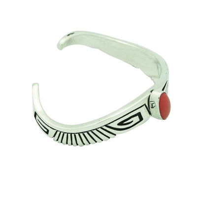 Load image into Gallery viewer, Kary Begay, Bracelet, Wave Design, Mediterranean Coral, Navajo Handmade, 6 5/8""