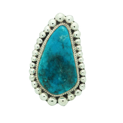 Load image into Gallery viewer, Ray Nez, Ring, Kingman Turquoise, Large Silver Drops, Navajo Handmade, 9