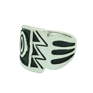 Kary Begay, Ring, Sterling Silver, Tapering, Overlay Technique, Navajo, 6 _