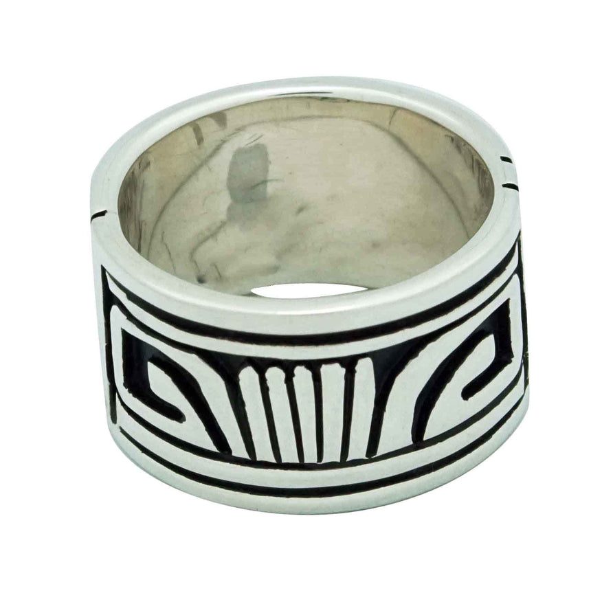 Kary Begay, Ring, Sterling Silver Band, Overlay Design, Navajo Handmade, 8 1/2