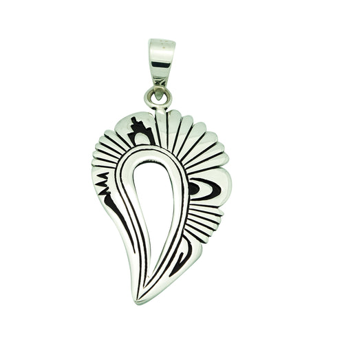 Kary Begay, Pendant, Sterling Silver, Overlay, Cutout, Navajo Made, 2 3/4