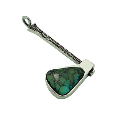 Load image into Gallery viewer, Aaron Anderson, Pendant, Tomahawk, Chinese Turquoise, Navajo Handmade, 2 1/2""