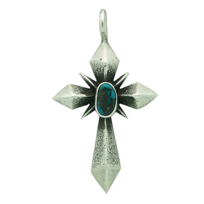 Load image into Gallery viewer, Aaron Anderson, Pendant, Cross, Red Mountain Turquoise, Navajo Handmade, 2""