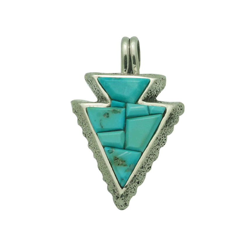 Lester James, Pendant, Kingman Turquoise, Tufa, Arrowhead, Navajo Made, 1 5/8