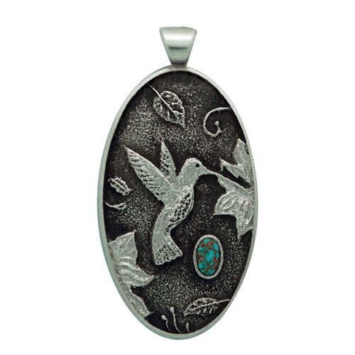 Kelsey Jimmie, Pendant, Hummingbird, Red Webbed Number Eight Turquoise, Navajo