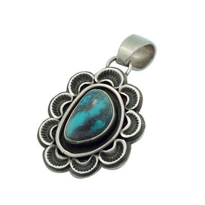Load image into Gallery viewer, Tommy Jackson, Pendant, Bisbee Turquoise, Old Style, Navajo Handmade, 1 3/4""