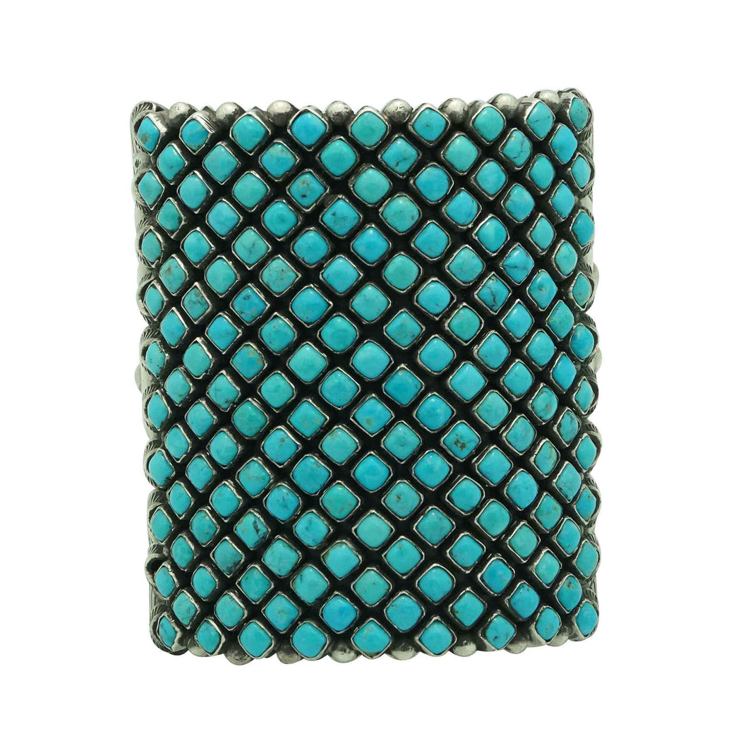 Alice Lister, Diamond Cluster Cuff, Blue Turquoise, Navajo Handmade, 6 3/4
