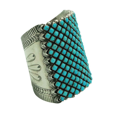Load image into Gallery viewer, Alice Lister, Diamond Cluster Cuff, Blue Turquoise, Navajo Handmade, 6 3/4""