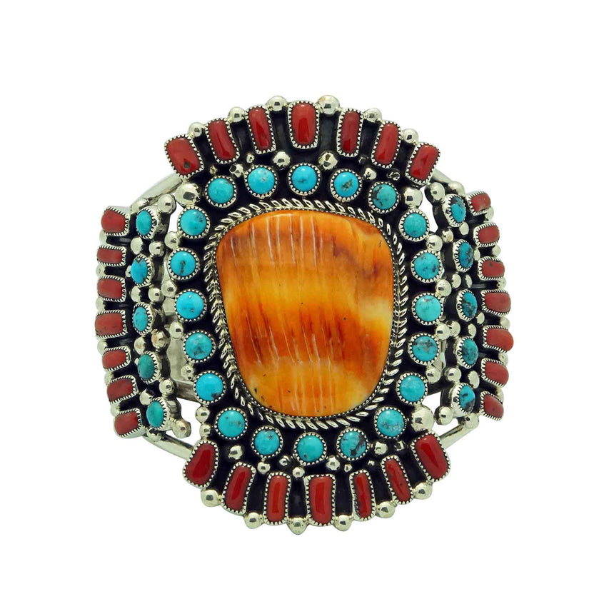 Melvin, Tiffany Jones, Bracelet, Multi Stone Cluster, Wide, Navajo Made, 6 3/4