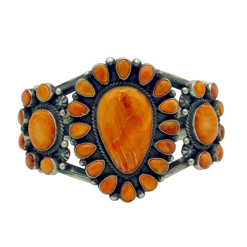 Tyler Brown, Bracelet, Orange Spiny Oyster Shell, Cluster, Navajo Made, 6 1/2