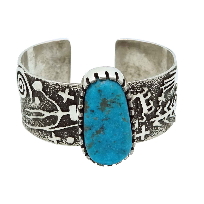Timm Lewis, Bracelet, Rock Art Inspired, Kingman Turquoise, Navajo Made, 6 3/4