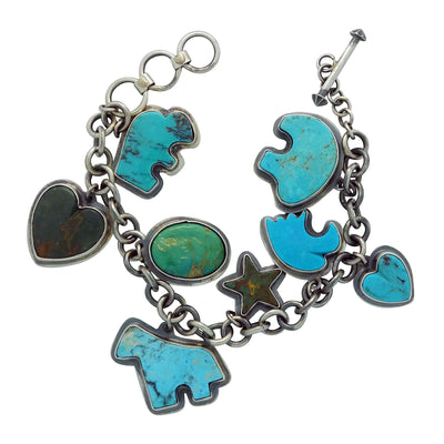 Load image into Gallery viewer, Donovan Cadman, Charm Bracelet, Turquoise, Silver, Adjustable, Navajo, 8 3/4""