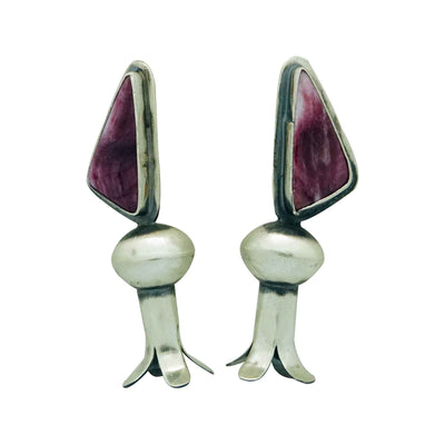 Load image into Gallery viewer, Derrick Cadman, Earrings, Post, Purple Spiny Oyster, Blossom, Navajo, 2 1/4""