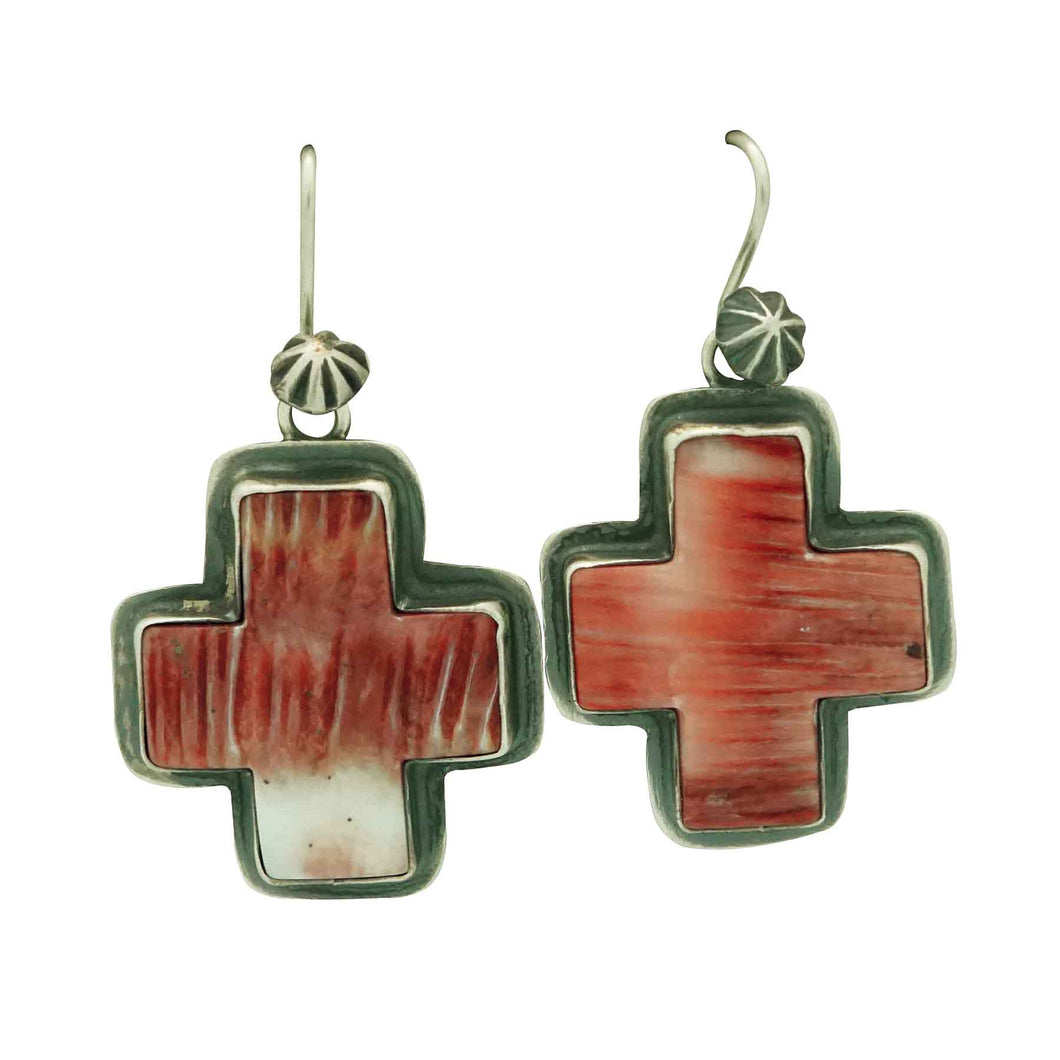 Andy Cadman, Earring, Red Spiny Oyster, Four Directions, Navajo Made, 1 7/8