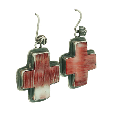 Load image into Gallery viewer, Andy Cadman, Earring, Red Spiny Oyster, Four Directions, Navajo Made, 1 7/8""