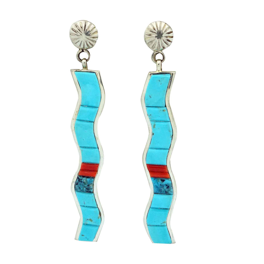 Lester James, Dangle Earrings, Turquoise, Coral Inlay, Wave, Navajo Made, 3 1/2