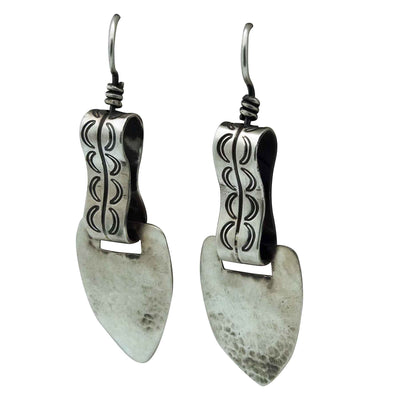 Load image into Gallery viewer, Julian Chavez, Earring, Stamping, Swivel Design, Navajo Handmade, 2 5/8""