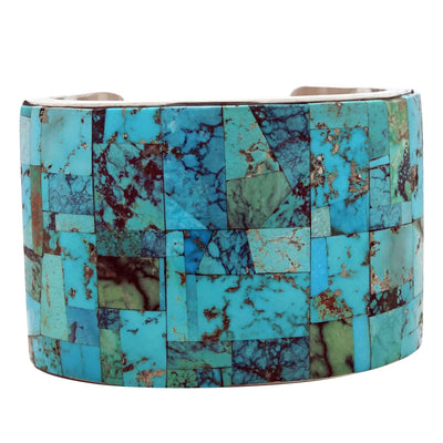Load image into Gallery viewer, Melvin Francis, Lester James, Bracelet, Wide, Turquoise Inlay, Navajo, 7 1/8""
