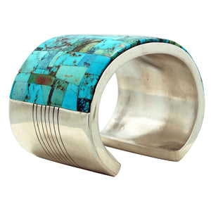 Melvin Francis, Lester James, Bracelet, Wide, Turquoise Inlay, Navajo, 7 1/8""